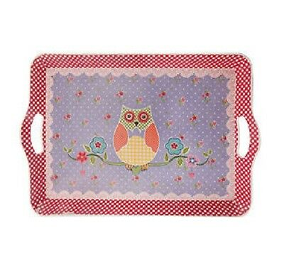 Colourful Shabby Chic Spring Folk Owl Tea Coffee Tray Serving Home Kitchen Decor
