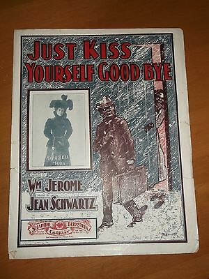 """Estate Large Antique sheet music BLACK AMERICANA """"Just Kiss Yourself Good-Bye """""""