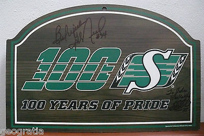 Saskatchewan Roughriders George Reed #34 Signed Official Plaque Glen Suitor #27