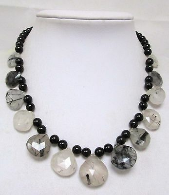 Good quality vintage onyx & faceted agate bead necklace