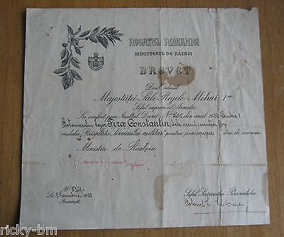 Romania Order Document Reward for 15 Years Military Service Medal Regency 1928