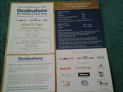 2 Tickets 4 Destinations Holiday & Travel Show 19-22 Jan Manchester&2-5Feblondon