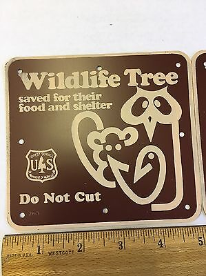 Lot of 2 US Forest Service Wildlife Tree Do Not Cut Metal / Aluminum Signs
