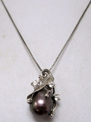 Vintage sterling silver, diamond paste & cultured pearl pendant + sterling chain