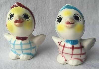 Vintage Small Japan Chick Chicken Salt Pepper Shakers Patchwork Scarf Red Blue