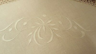 Antique vintage linen round table scarf, hand embroidered, beautiful old lace