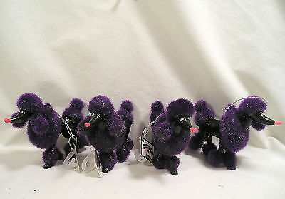 Christmas Ornament, 4 Purple Poodle Ornamets, Black Glitter French Poodle Dogs