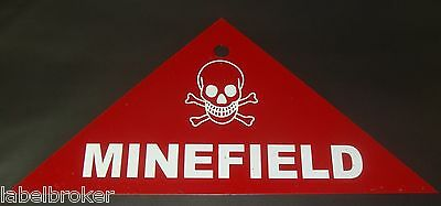 Original Metal Sign Wwii Surplus Minefield Warning Skull Crossbones Nos 1942