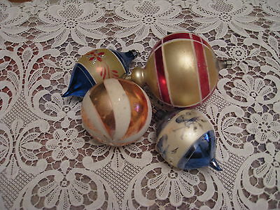 "Vintage Christmas ornaments. lot of 4, two marked ""Poland"""