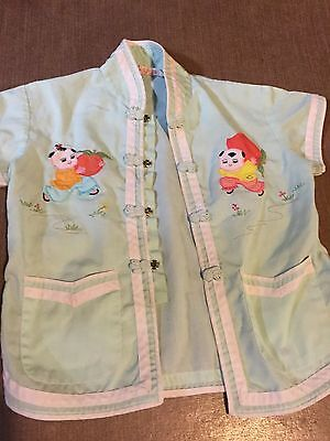 vintage Toddler Embroidered asian applique shirt brand plum blossoms 2T