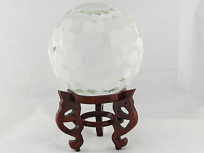 Beautiful Hexagon Cut Crystal Ball W/ Wood Stand, Comes W/ Original Box