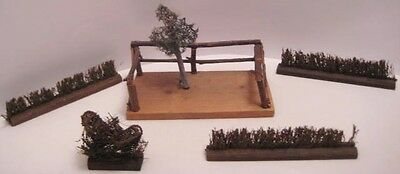 Old 1920s Wooden German Dollhouse Bushes & Garden Moss Tree on Twig Platform