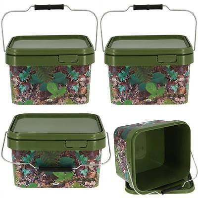 4 X Square 5L Camo Bait Buckets For Boilies Pellets Carp Coarse Fishing Tackle .