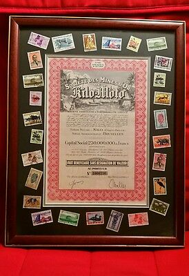 Vintage Congo gold mine stock/bond certificate and stamp collection