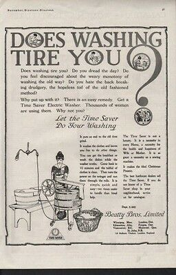 1919 Time Saver Electric Washer Home Appliance Clean Ad[Sku]