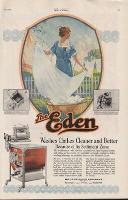 1920 Eden Washing Machine Laundry Clothes Line Wife Ad [Sku]