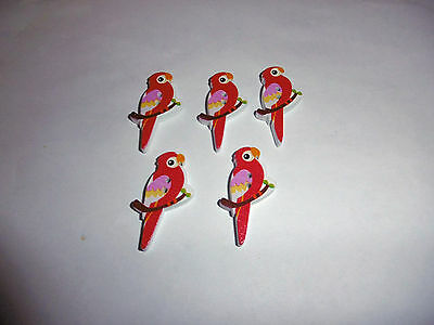 Missionary Auction Set of 5 Red Budgie Shape Buttons