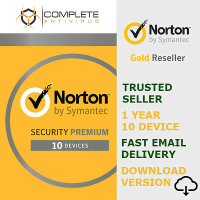 Norton Security Premium + Backup 25GB 10-Devices 1Year | Digital Download - 2017