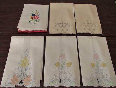 Antique Show Towel Lot 5 pcs Floral Embroidery new OLD Stock Vintage Hand Towels