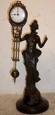 Diana Mystery Swinger Statue Clock--Totally Mechanical,Clock Swings Back & Forth