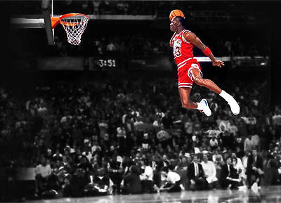 MICHAEL JORDAN - DUNK - Chicago Bulls - Canvas Print Poster 18X12""