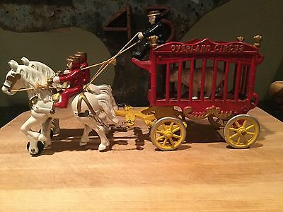Antique Overland Circus Cast Iron Horse Wagon Set All Original Paint Super Nice!