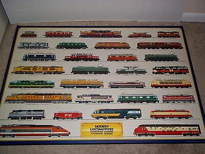 Locomotives Trains from All Over The World XL Laminate Board 1985 Print Rare