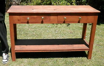 Solid timber hall table chunky style console table 2 drawers lower shelf 3163
