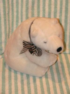 "White Polar Bear Large Plush Stuffed Animal 12"" Long Holiday 2005"