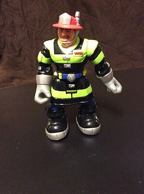 #5 Billy Blazes 2000 Fireman Black Green Rotates Fisher Price Rescue Heros 6""