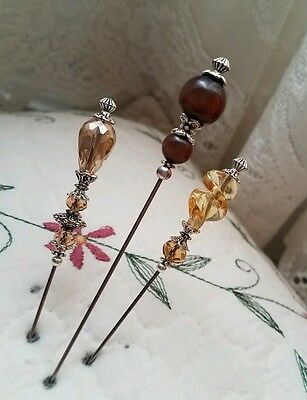 Antique Vintage Inspired Victorian Hat Pins Beads Clutch Included Strong, Sharp