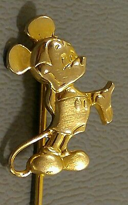 """Vintage Mickey Mouse Lapel Pin Signed Walt Disney Productions """"Anson"""" Gold Tone"""