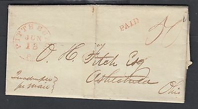 Usa 1843  Quadruple Rate Stampless Fl Pittsburgh Pennsylvania To Ashtabula Oh