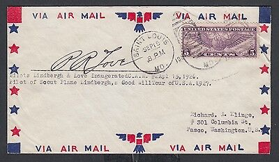 Usa 1931 Pilot Love Signed Lindbergh Goodwill Tour  Airmail Cover St Louis Mo