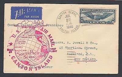 Usa 1940 Fam19 Censored First Flight Cover Ffc Canton Island To San Francisco