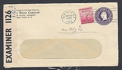 Usa 1942 Wwii Censored Uprated Postal Stationery Envelope From New York