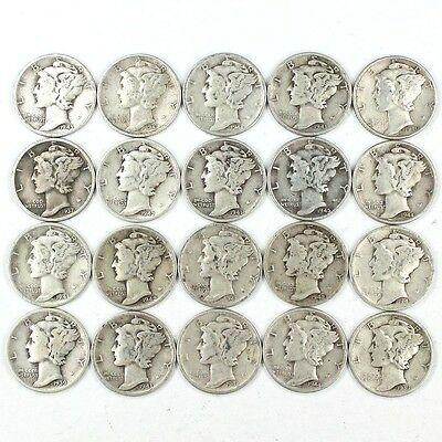 Group Lot of 20 Nice Silver Mercury Dimes - 90% Silver. s5a