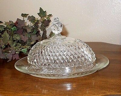 Vintage Diamond Point Covered Butter Dish Indiana Glass Oval Dome Lid Crystal