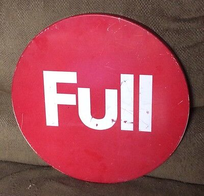 """Vintage Gas Station FULL Sign Gas Pump Island Full Service Sign 15"""" Round Metal"""