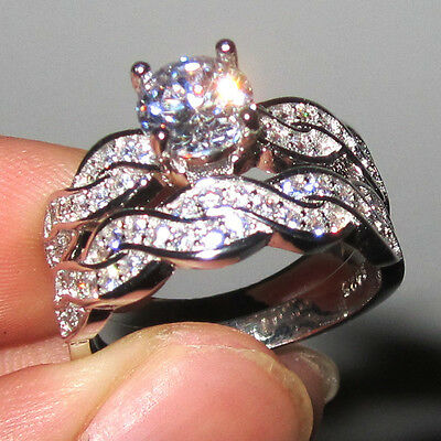 Size 5 Deluxe Diamonique Lady's 925 silver White Sapphire Wedding Band Ring Set