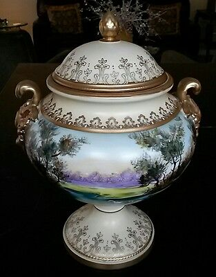 Large Urn w/Cover Lid French Old Paris Style Bisque/Porcelain Shepherdess & Beau
