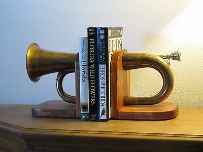 Handmade Bugle Bookends, Artsy-Music ,Great for Office, Den, Cave, Well Made