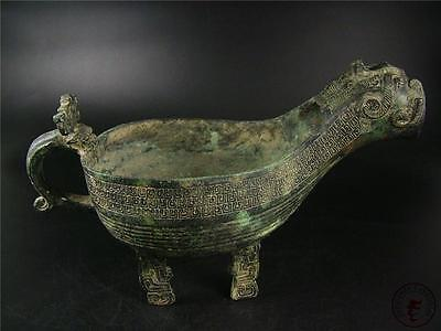 Very Large Antique Old Chinese Bronze Made Pot Vase Statue DRAGON HEAD IMAGE