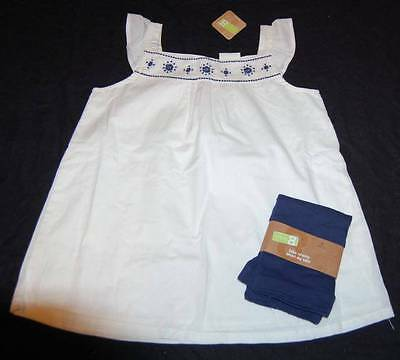 Girl Size 14 Ruffled Embroidered Peasant Top Navy Blue Bike Shorts New Crazy 8