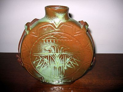 Vintage Frankoma Pottery Canteen Vase Prairie Green Orig Leather Strap Red Clay