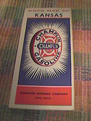 1948 Champlin Gas And Oils Road Map Of Kansas !!!
