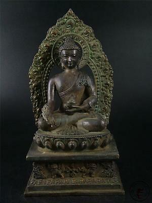 Very Huge Antique Old Chinese Tibet Bronze Made Tibetan Buddha Sakyamuni Statue