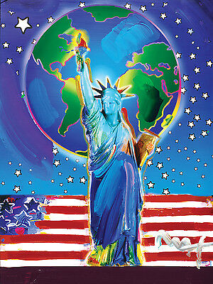 """Peter Max PEACE ON EARTH Painted Canvas  24"""" x 36"""" USA  PLANET EARTH  LIBERTY"""