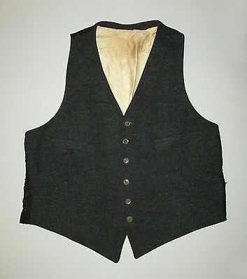 Antique vtg Ca 1900s Gray Wool Man's Vest late Victorian Edwardian era very nice