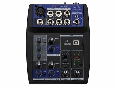 Wharfedale CONNECT502 Studio or Live micro-mixer with USB, 5 inputs, 2 outputs